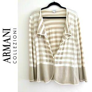 Armani Collezioni drape front stripe cardigan